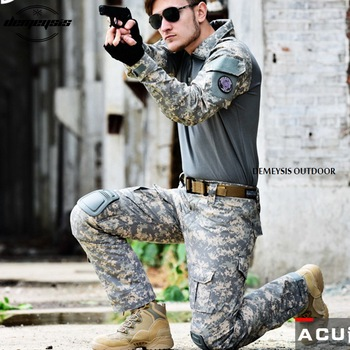 Mens Military Clothes Combat Shirt Pants Black Long Sleeve Tactical Suit Army Military Uniform Airsoft Painball Tactical Clothes