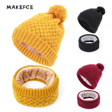 2019 NEW 2-piece set Children kids Winter Hat and scarf Set  Pom Pom Hat Fleece Liner Pom Pom Beanie Baby Girls Boys Cap girls pom pom detail polka dot sweater
