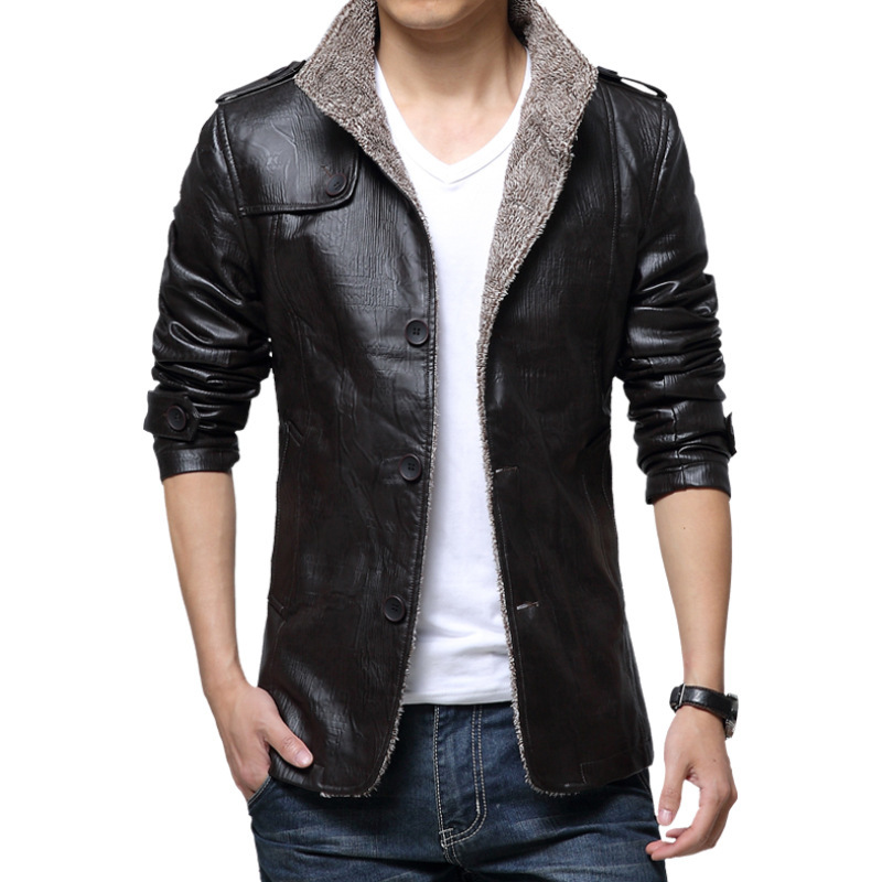 Men's Jacket Autumn Fashion Overcoat Stand Collar Slim Casual Leather Jacket Winter Men's Faux Fur Coats Pu Leather Jackets