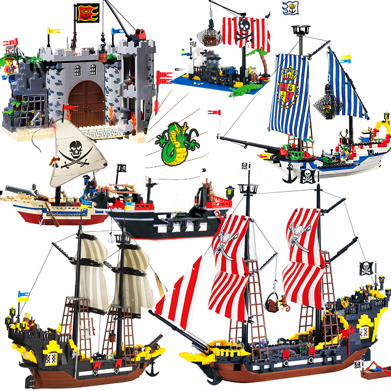 Enlighten Pirate Ships Model Compatibleb Ed Warship Boats Castle Caribbean Pirates Medieval Figures Building Blocks Kid Toys