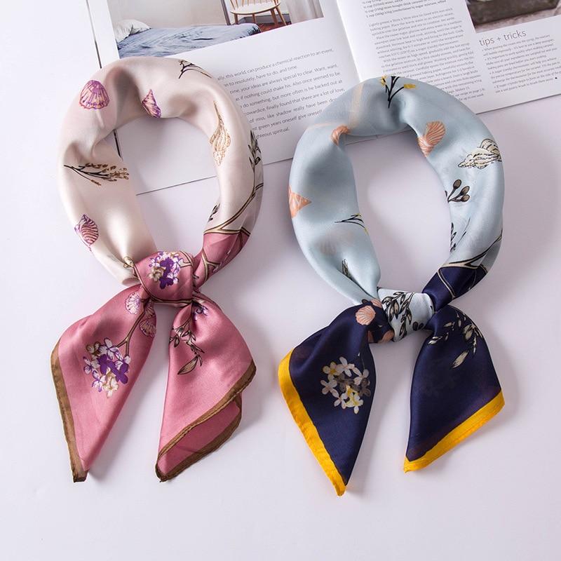 70*70cm New Summer Beach Fashion Clothes Accessories Women Floral Vintage Scarf Head Kerchief Neck Elegant Square Neckerchief