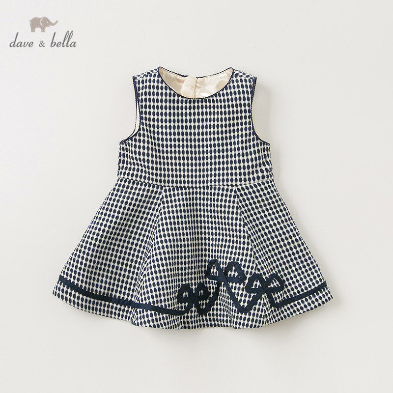 DB11408-2 dave bella automne bébé fille princesse noeud points gilet robe enfants mode fête robe enfants infantile lolita vêtements