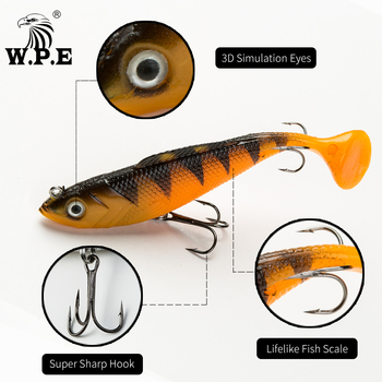 W.P.E NEW Soft Lure 1pcs 8cm/10cm/12cm/14cm Lead Head Fishing Lures Jig Fishing Lure Carp Fishing Bait with 2 Treble Hook Tackle image