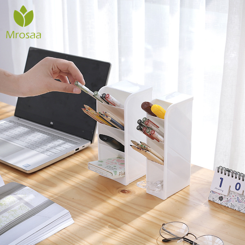 Container Cosmetic-Box-Holder Pencil-Organizer Case Desktop-Storage-Box 4-Grids Home