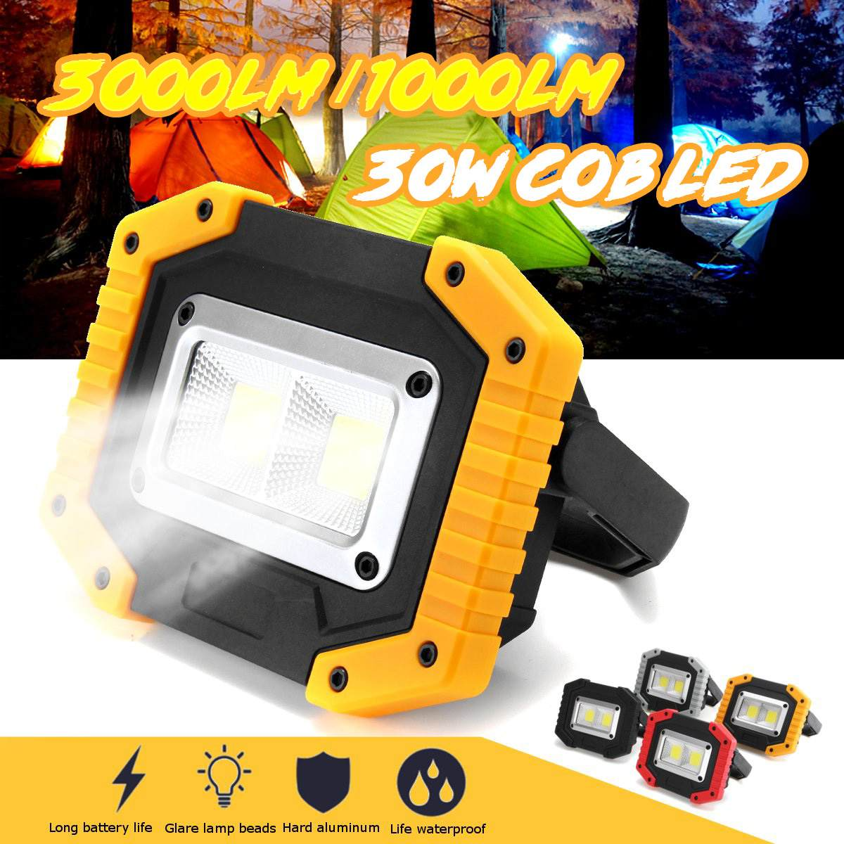 30W 2 COB LED Portable Spotlight Rechargeable Outdoor Working Light Hunting Camping Lamp Floodlight Searchlight 18650 Battery