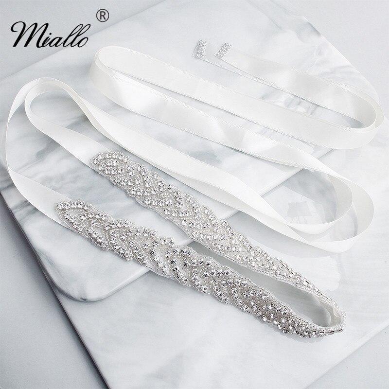 Miallo Мода серебряные цветы австрийский хрусталь, свадьба пояс для женщин свадебный горный хрусталь пояс для невесты платье ювелирные изделия аксессуары