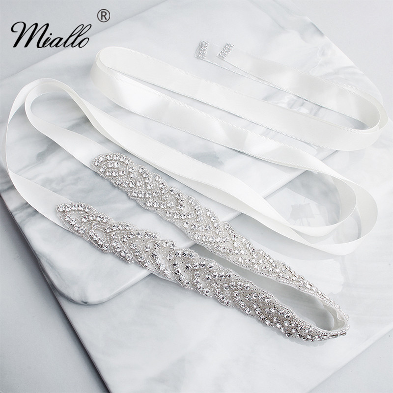 Miallo Fashion Silver Flowers Austrian Crystal Wedding Sash Women Bridal Rhinestone Belt For Bride Dress Jewelry Accessories