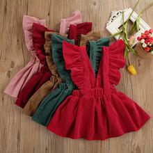 Suspensório de veludo para crianças, saia infantil de tiras casuais, roupas de verão para bebês, 1-6t
