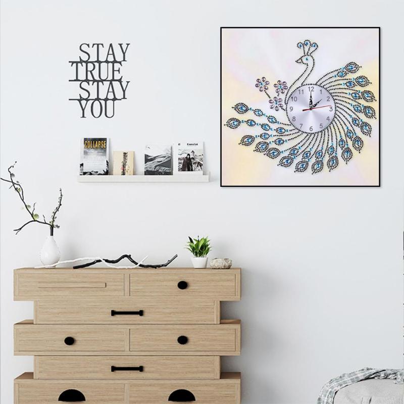 DIY Peafowl Special Shaped Diamond Painting Cross Stitch Wall Clock Home Decor