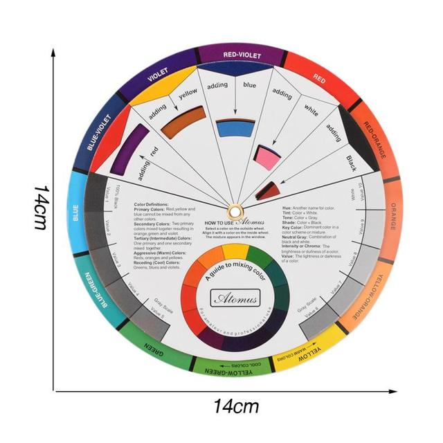 12 Color 1PC Professional Tattoo Nail Pigment Nail polish Gel Palette Wheel Paper Card Design Mix Guide Round The Central Circle