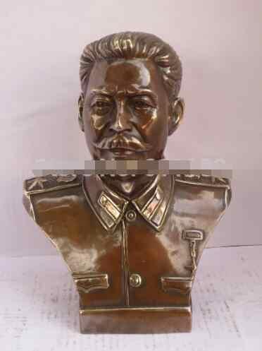 YM 305 Folk art a mano-intagliato in rame Stalin Busti scultura/statua di Metallo artigianato, Antico decorazione di Festa del Regalo