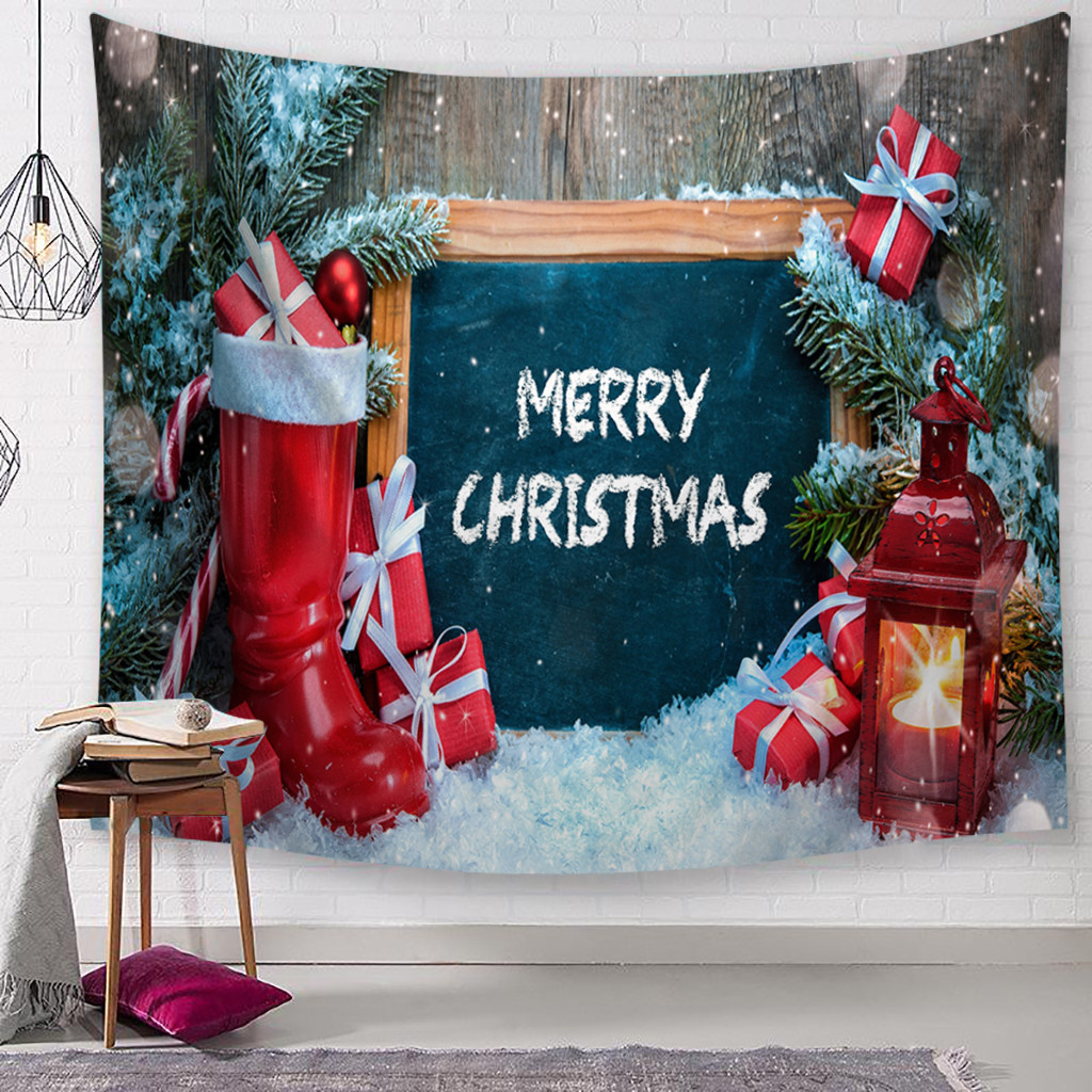 Christmas Tapestry Santa Print Wall Hanging Tapestry Macrame Art Home Decor Merry Christmas Ornaments tapisserie mural tapiz /c image