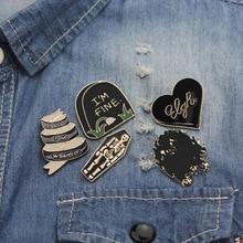 Fun Cartoon Brooch Halloween Tombstone Ghost enamel Pin Mini Badge Cute Bag Shirt Accessories FXM