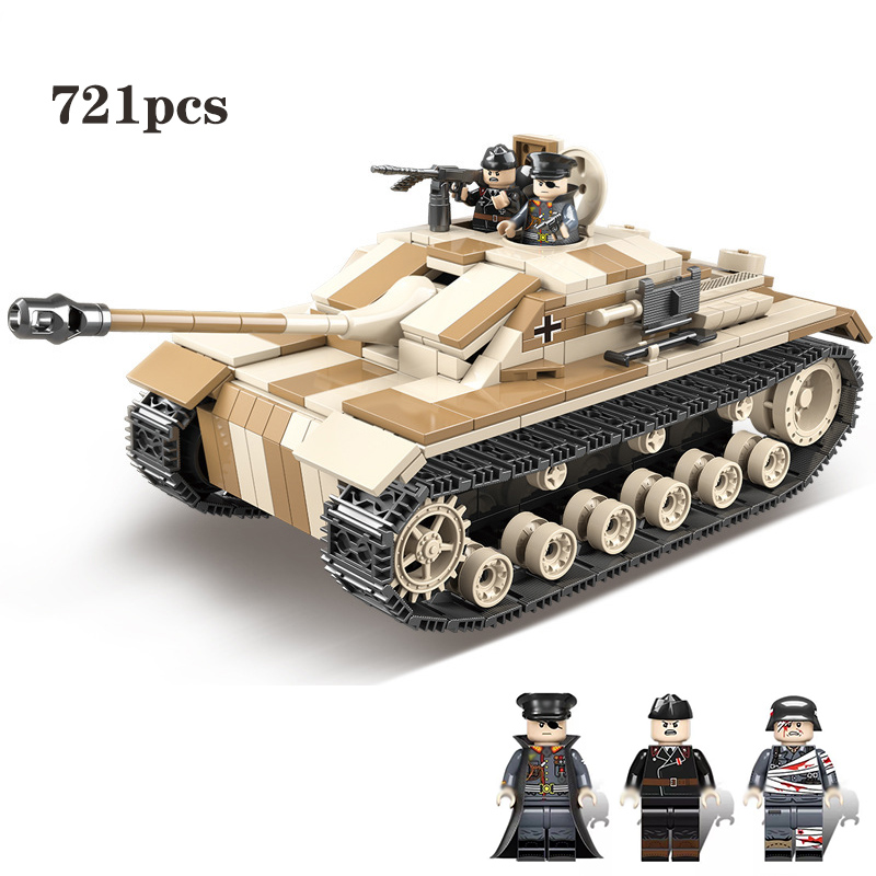 NEW 721PCS Military Germany Tank Building Blocks Legoing Technic Military WW2 Tank Army Soldier Weapon Parts Bricks Kids Toy