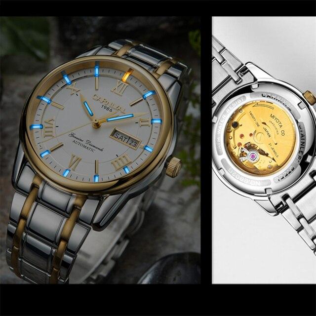 カーニバル男性腕時計御代田自動T25 トリチウム発光機械式時計の男性トップブランドの高級時計リロイフルスチールレロジオ