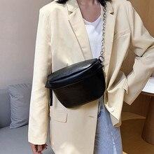 Женская поясная сумка мода большой емкости ПУ кожаный цепи сумма на полосу поясная сумка портативный сумка Bananka группа живота ремень сумка