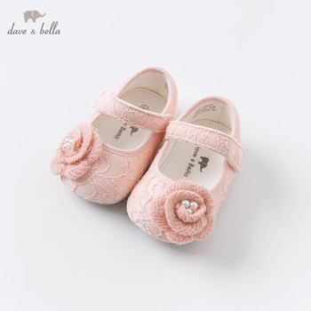 DB15631 Dave Bella autumn baby girls fashion floral appliques first walkers new born girl cute shoes image