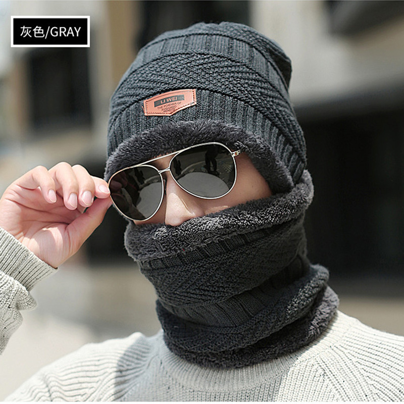 Thick 2 Pieces Scarf Hat Winter Warm Comfortable Knitted Scarf Hat Sets