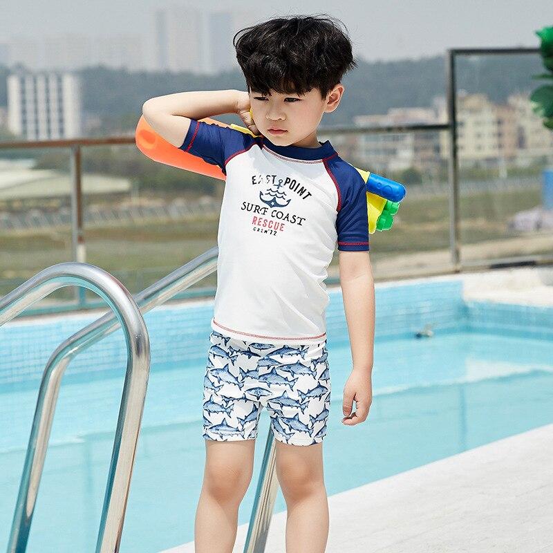 2019 New Style BOY'S Swimsuit Split Type Set Beach Sun-resistant Baby Bathing Suit Shark Pattern KID'S Swimwear Men's