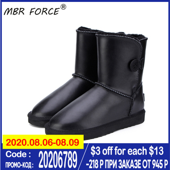MBR FORCE Women Waterproof Genuine Leather Fur Winter Boots Warm Women Boots Snow Boots Women Shoes Lady black Shoes large size size 35 43 waterproof women winter shoes snow boots warm fur inside antiskid bottom keep warm mother casual boots bare shoes 40a