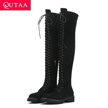QUTAA 2020 Stretch Fabrics Square Heel Winter Women Shoes Round Toe Lace Up Zipper Fashion Over The Knee High Boots Size 34-39