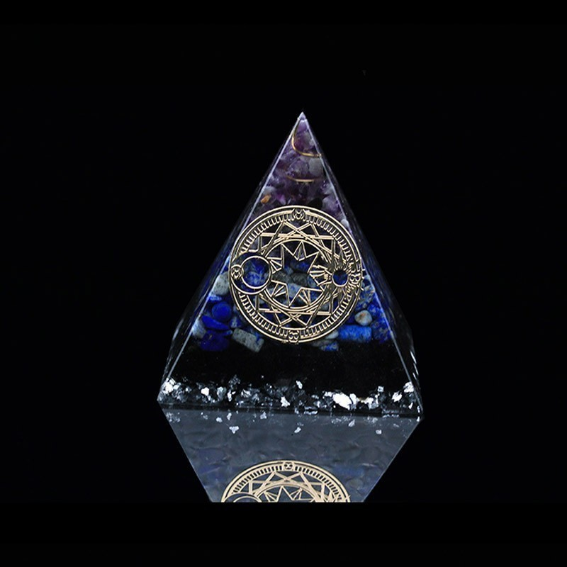 Orgonite Aogen Natural Crystal Energy Pyramid Decoration Aowei Energy Generator Helps Soothe The Soul Process Resin