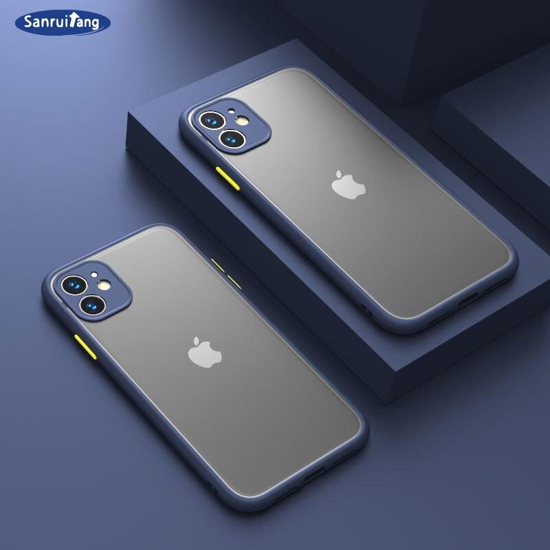 Противоударный бронированный матовый чехол для iPhone 12 11 Pro Xs Max X XR 8 7 6 Plus SE, роскошный силиконовый мини-бампер, прозрачный жесткий чехол из пол...