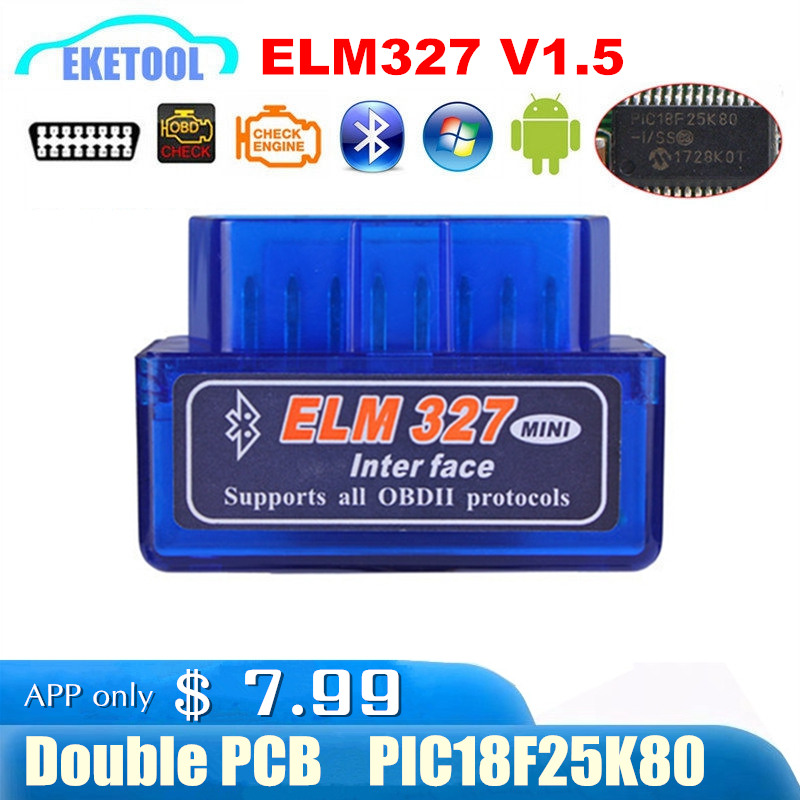 Hardware V1.5 Chip 25K80 New OBD2 ELM327 Bluetooth Auto Code Reader Super MINI ELM 327 Works ON Android Symbian Free Shipping Собака