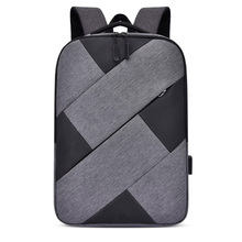 Newly men women travel shoulder bag durable oxford gray and black patchwork laptop business or school carrying backpack