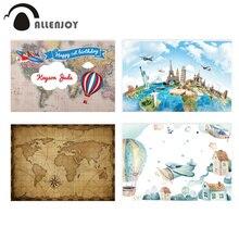 Allenjoy 생일 배경 세계 여행 푸른 하늘 풍선 공기 비행기 건물 배경 초상화 사진 촬영 Photocall Photobooth