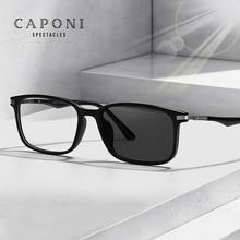 CAPONI Photochromic Glasses Men Anti Blue Ray Computer Glasses For Men Full Frame UV Light Blocking Business Male Eyewear BF6105