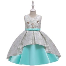 Flower Girls Dresses Vintage Sleeveless O-Neck Sequined Embroidery Beading Crystal Knee-Length Gray Kid Party Princess Gown F461