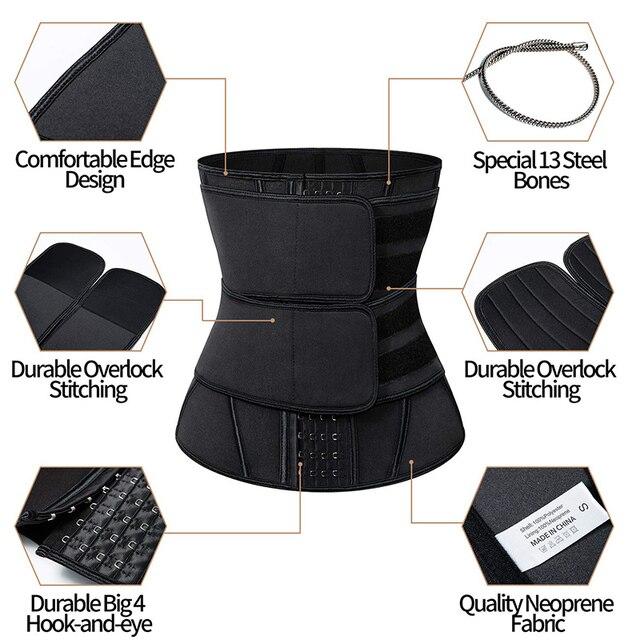 Men Slimming Body Shaper Sweat Belt Modeling Strap Waist Cincher For Women Men Waist Trainer Belly Belt Shaperwear Tummy Corset 4