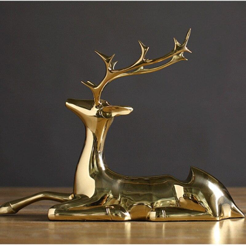 Creative élégant pur cuivre elk casier à vin style salon armoire à vin fer casier à vin décoration artisanat ornements créatifs - 2