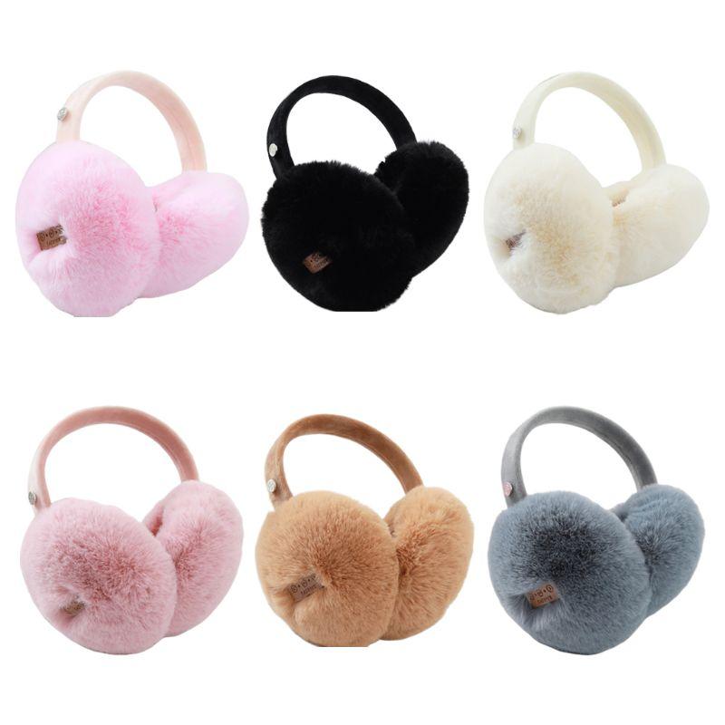 Unisex Winter Warm Bluetooth Earmuffs Wireless Solid Color Plush Headphone Foldable Music Listen Earphone Ear Warmers