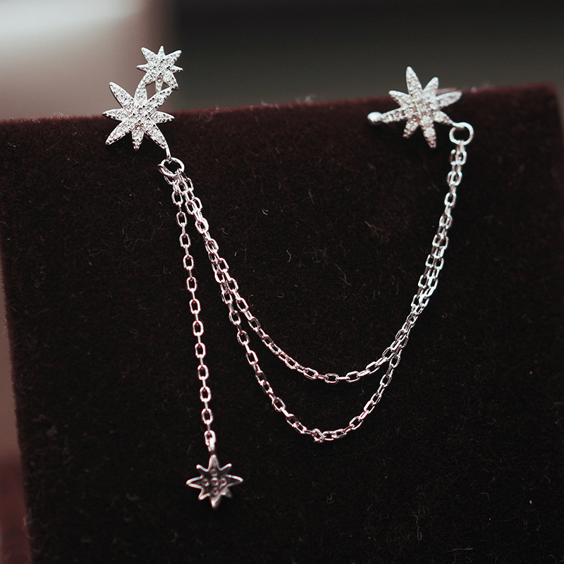 ANENJERY 1PC Temperament Cubic Zircon Eight Stars Ear Clip Earrings Silver Color Chain Ear Jewelry For Women S-E1121