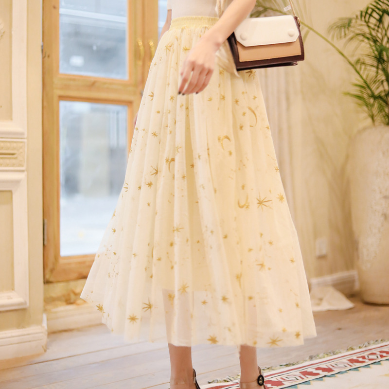 Spring And Autumn New Products WOMEN'S Dress Machine Embroidery Star Skirt Puffy Big Hemline Gauze Skirt Mid-length Base Skirt