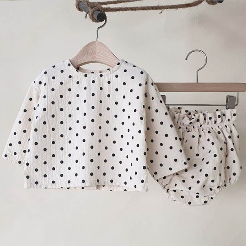 MILANCEL baby clothing polka dot baby boys clothes pure cotton and linen infant girls suit infant outfit