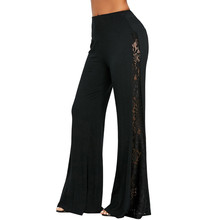 2019 Spring Autumn Women High  Waist Wide Leg Ruffle Pants Lace Insert Wide Leg Pants Leggings Loose Trousers  9.4 wide waistband ruffle wide leg pants