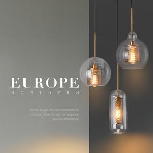 Image 2 - Loft nowoczesna lampa wisząca szklana kula lampa wisząca oświetlenie kuchni oprawa jadalnia Hanglamp salon oprawa
