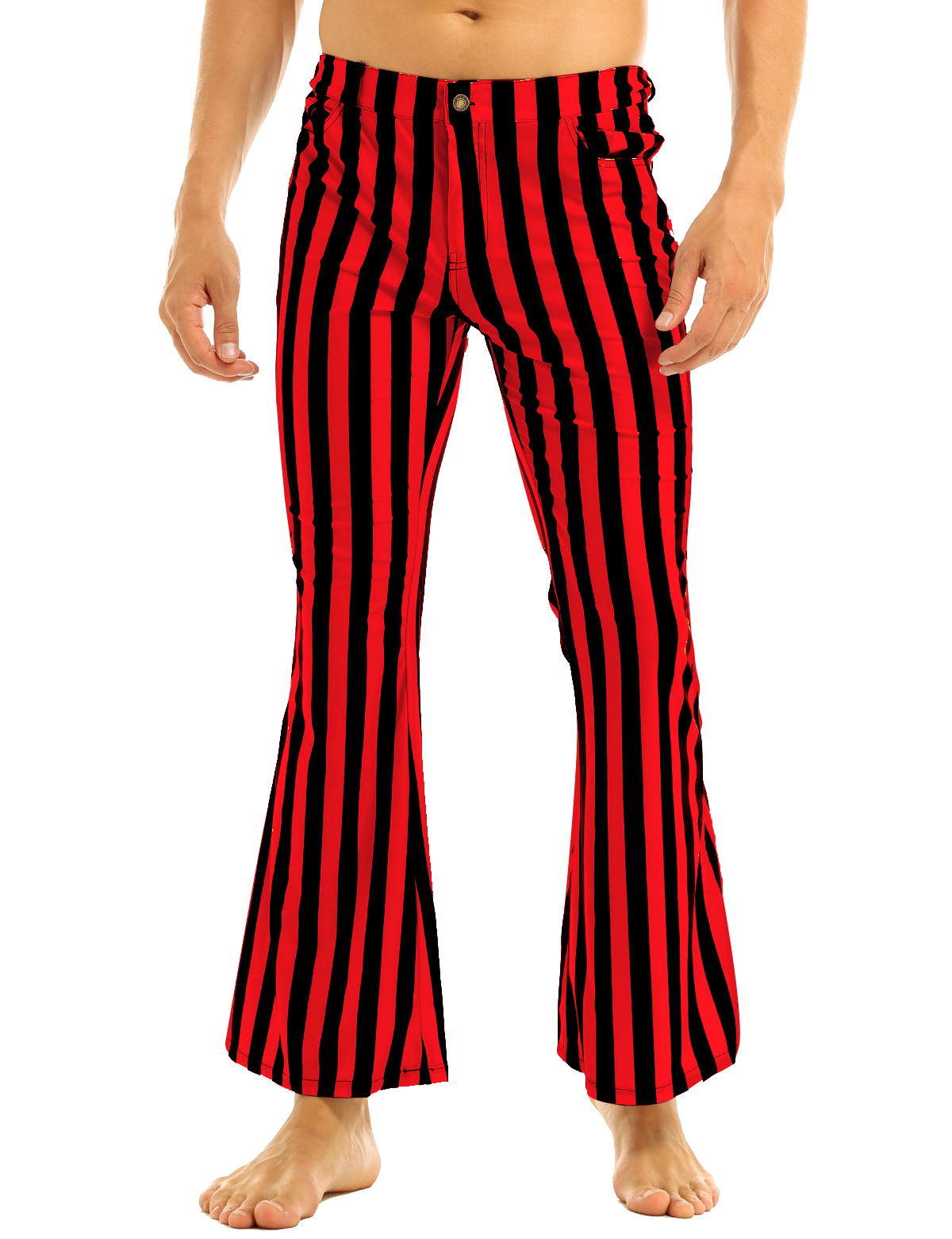 Halloween Party Costume for Men Vintage Stripe Pant Male Long Pant Stretch Bell Bottom Trousers Western Streetwear Clothes Homme 14