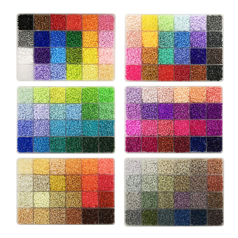 24colours/plate  Yantjouet 2.6mm Mini Beads Set 13200pcs 6 Kits DIY Hama Beads Perler Beads Iron Beads High Quality Gift