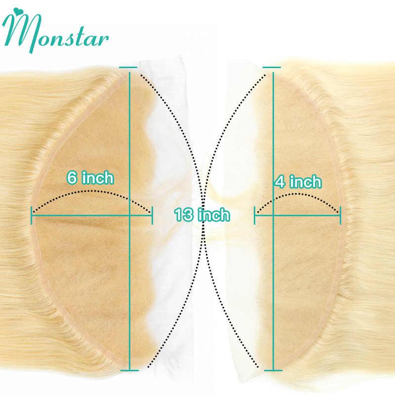 Monstar Remy sarışın renk saç vücut dalga 2/3/4 demetleri ile 13x4 kulak için kulak dantel Frontal kapatma brezilyalı İnsan sarışın 613 saç
