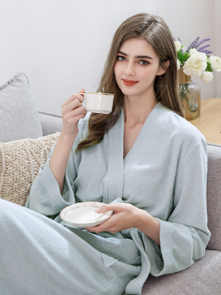 High Quality Bathrobe Women's Long Robe Padded Double-Sided Towel Absorbent Quick-Drying Robe Customized pajamas Халат женский