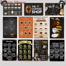 Coffee Menu Metal Tin Signs Vintage Drink Wall Art Poster The Coffee Shop Bar Club Cafe Store Plaque Shabby Chic Home Decor WY93 nordic style industrial water pipe light edison bulb vintage aisle wall lamp home decor for cafe bar hall coffee shop club store