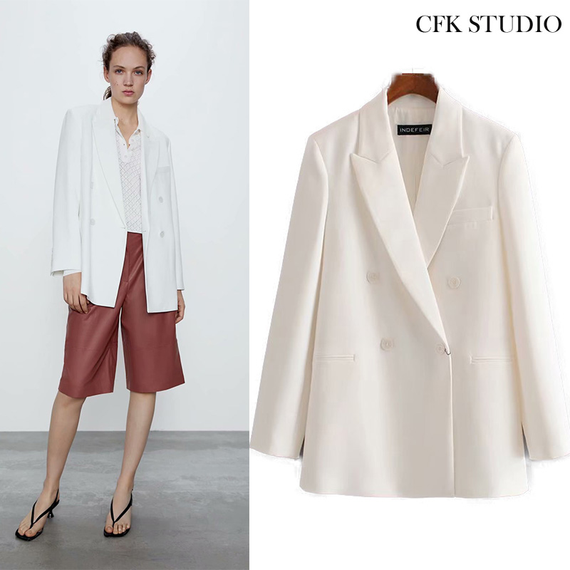 Za 2020 Women Blazer With Turn-down Collar Solid Double Breasted Pocket Casual Loose Jacket Femme White Office Wear Outwear Coat