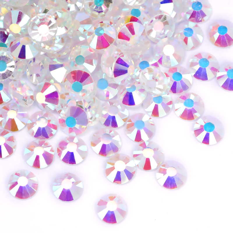 Смешанные размеры прозрачные кристаллы ab SS3-SS20 Хрустальные Стразы 3D для ногтевого дизайна с плоской задней поверхностью без горячей фиксац...