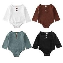 Комбинезон для маленьких мальчиков и девочек 0-24 месяцев, однотонный боди с длинными рукавами и пуговицами, хлопковый комплект одежды