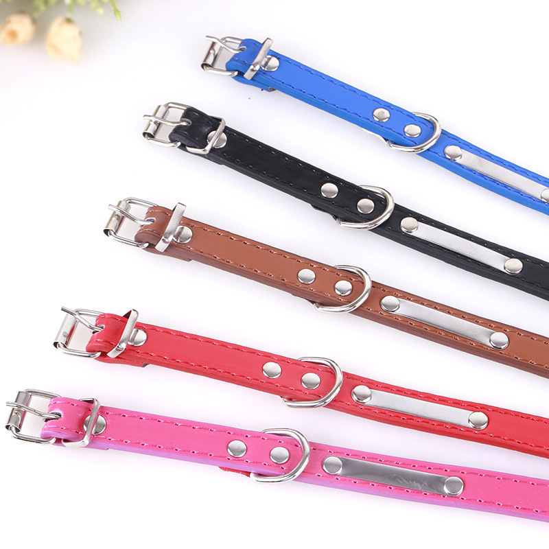 Pet Supplies Dog Lettering Iron Piece Collar New Style Pu Sequin Neck Ring Pet Collar Multi-color