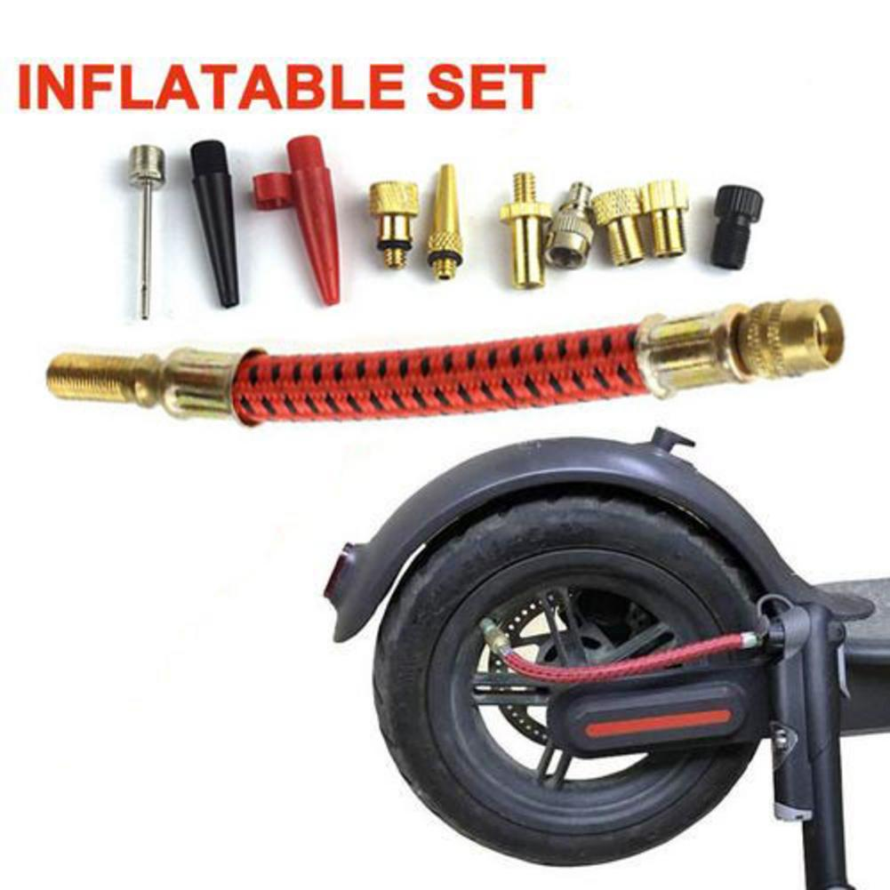 11 Pcs Bike Tyre Air Pump Inflator Replacement Extension Hose Valve Inflator Connector Inflating Tools Kit Extension Tube M365 4